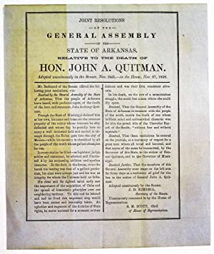JOINT RESOLUTIONS OF THE GENERAL ASSEMBLY OF THE STATE OF ARKANSAS, RELATIVE TO THE DEATH OF HON....