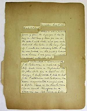 AUTOGRAPH LETTER SIGNED, ON PLAIN LINED PAPER, TO E.B. FRENCH, DATED AT HAMPDEN [MAINE], AUGUST 1...