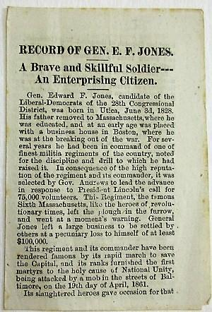 RECORD OF GEN. E.P. JONES. A BRAVE AND SKILLFUL SOLDIER-- AN ENTERPRISING CITIZEN