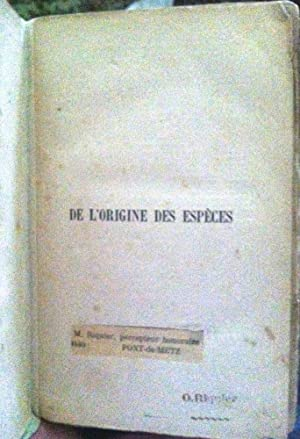 De L'Origine Des Éspéces [ON THE ORIGIN: Darwin, Charles