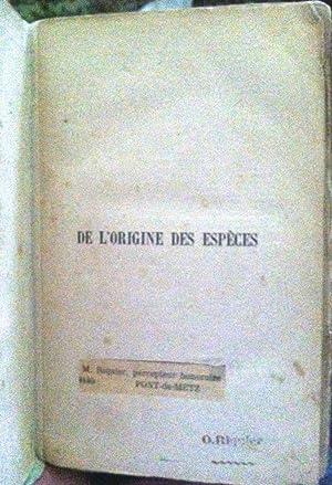 De L'Origine Des Éspéces [ON THE ORIGIN: Darwin, Charles