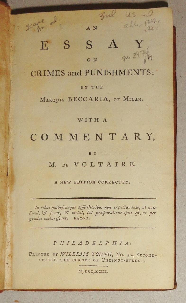 an essay on crimes and punishments by the marquis beccaria of  an essay on crimes and punishments by the marquis beccaria of milan a