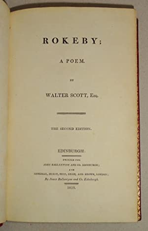 Rokeby; a Poem [Engraved Title Page and Illustrations by Stothard]: Scott, Walter and Thomas ...
