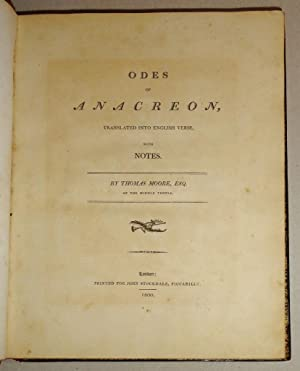Odes of Anacreon, Translated into English Verse, with Notes