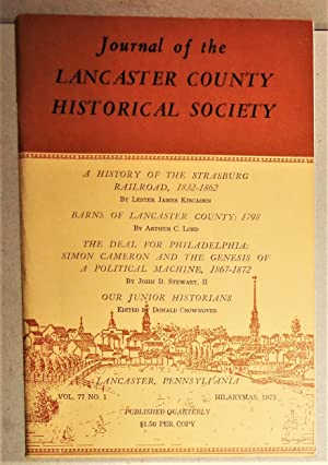 A History of the Strasburg Rail Road, 1832-1862 [In] Journal of the Lancaster County Historical S...