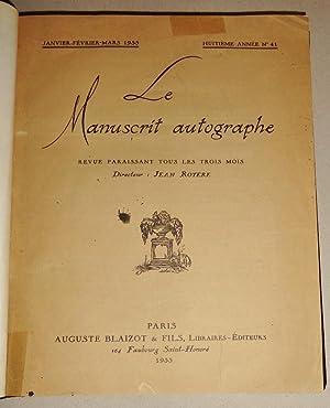 Le Manuscrit Autographe; Revue Paraissant Tous Le Trois Mois. 1933, Huitième Année No...