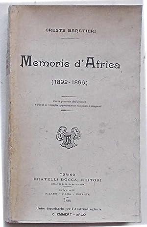 Memorie d'Africa (1892-1896).: BARATIERI ORESTE