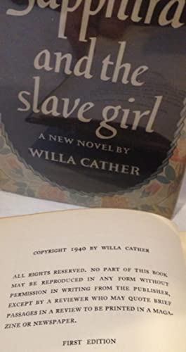 Sapphira and the slave girl - FIRST EDITION - VG+: Willa Cather