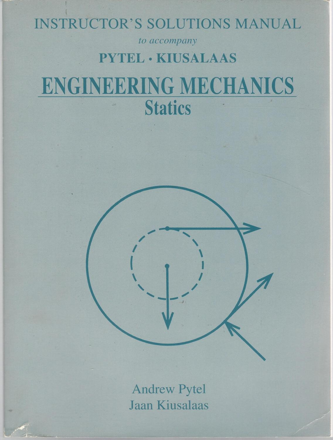 Instructor's Solutions Manual to accompany Engineering Mechanics  Statistics: Pytel, Andrew & .