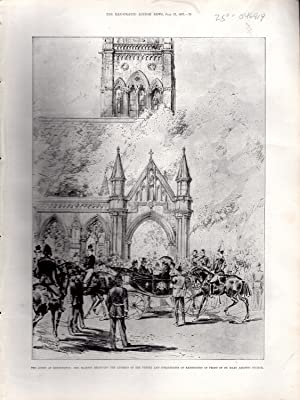 """ENGRAVING """"The Queen at Kensington: Her Majesty Receiving the Address of the Vestry and ..."""