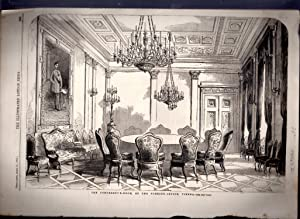 """ENGRAVING: """"The Conference Room at the Foreign Office, Vienna (Austria)"""" .engraving from ..."""
