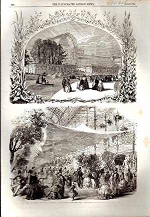 """ENGRAVING: """"The Horticultural Exhibition in the Crystal Palace, Sydenham"""". engravings ..."""