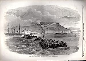"""ENGRAVING: """"The landing of the Turks at Yenikale"""".engraving from The Illustrated London ..."""