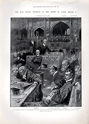 """ENGRAVING: """"The War Office Question in the House of Lords, March 4:"""". engraving from The ..."""