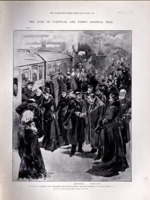 """ENGRAVING: """"The Duke of Cornwall and York's Colonial Tour: The Official Farewell""""...."""
