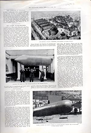 """PRINT: """"The Latest Flying-Machine"""".story & photoengravings from: Illustrated London News"""