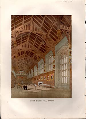 """LITHOGRAPH: """"Christ Church Hall, Oxford"""". from Old England; A Pictorial Museum of Regal, ..."""
