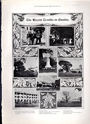 """PRINT: """"The Recent Trouble in Gambia"""". photoengravings from The Illustrated London News, ..."""
