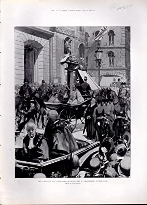 "ENGRAVING: ""Proclaiming the King's Coronation in London, June 28"" . .engraving from ..."