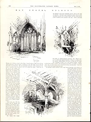 """ENGRAVING: """"Ely Chapel, Holborn (England)"""" .engraving from The Illustrated London News, ..."""