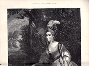 "ENGRAVING: ""The Duchess of Devonshire "" .double page engraving from The Illustrated London ..."