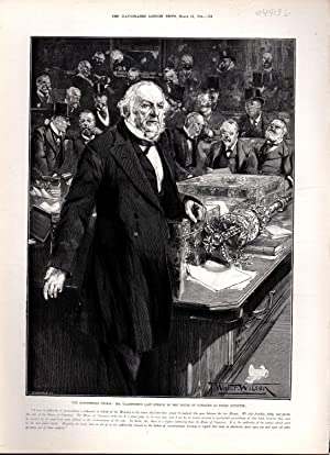 """ENGRAVING: """"The Ministerial Crisis :Mr. Gladstone's Last Speech in the House of Commons as ..."""