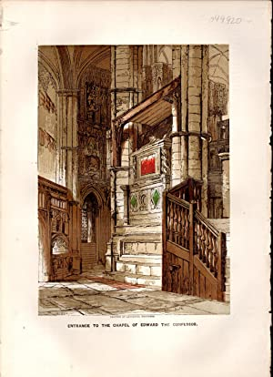 """PRINT: """"Entrance to the Chapel of Edward the Confessor"""":. from Old England; A Pictorial ..."""