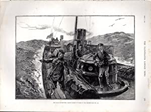 """ENGRAVING: The Naval Manoeuvres: Prince George of Wales in His Torpedo-Boat"""".engraving from ..."""