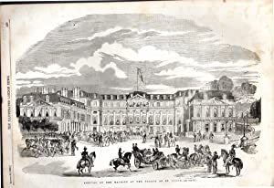 """ENGRAVING: """"Arrival of Her Majesty (Queen Victoria) at the Palace of St. Cloud """" .engraving..."""