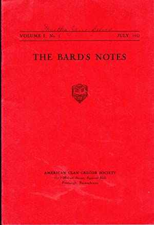 The Bard's Notes: VOLUME I, No. 4: April, 1933: Magruder, Kenneth Dann (Editor) American Clan ...