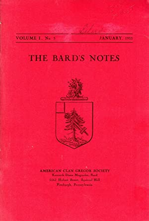 The Bard's Notes: VOLUME I, No. 3: January, 1933: Magruder, Kenneth Dann (Editor) American Clan...