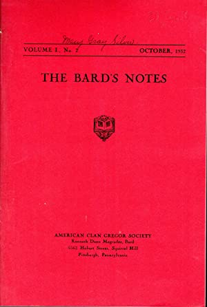 The Bard's Notes: VOLUME I, No. 1: July, 1932: Magruder, Kenneth Dann (Editor) American Clan ...