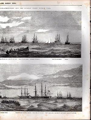 "ENGRAVING: ""The Baltic Fleet at Anchor Off Tolboukin Beacon--cronstadt and the Russian Fleet ..."