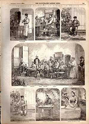 "ENGRAVING: ""Champagne Bottling at Pierr6y, in France"" .engravings from The Illustrated ..."
