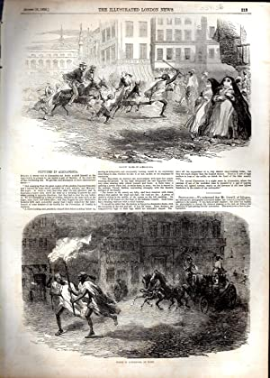 "ENGRAVING: ""Sketches in Alexandria"" . engraving from The Illustrated London News, August ..."