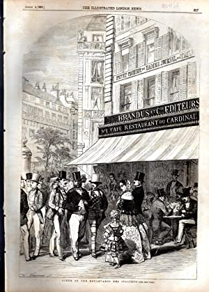 "ENGRAVING: ""Scene on the Boulevards Des Italiens, Paris"" . engraving from The Illustrated..."