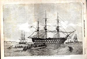 """ENGRAVING: """"The Belleisle Hospital Ship Taking Provisions on Board"""" . engraving from The ..."""