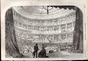 """ENGRAVING: """"Performance Before Her Majesty in the Theatre of the Palace of St. Cloud """" . ..."""