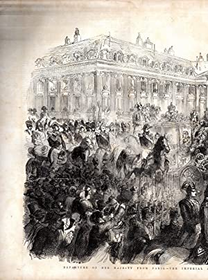 """ENGRAVING: """"Departure of Her Majesty from Paris--The Imperial and Royal Procession in the ..."""