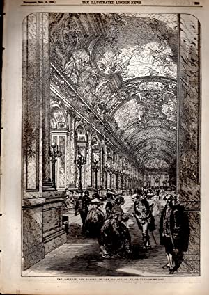 "ENGRAVING: ""The Galerie Des Glaces in the Palace of Versailles"".engraving from The ..."