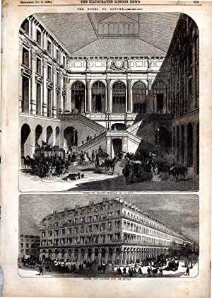 "ENGRAVING: "".The Hotel de Louvre"". engravings from The Illustrated London News, October 27,..."
