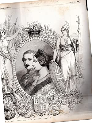 """ENGRAVING: """"'The Visit of the King of Sardinia to Queen Victorian and Prince Albert"""". ..."""