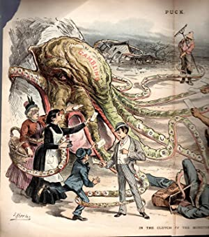 """Lithograph: """"In The Clutch of the Monster [gambl;ing}"""" . .colored lithographic engraving ..."""