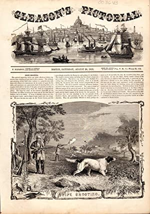 "PRINT: "" Snipe Shooting"".story & engravings from Gleason's Pictorial Drawing ..."