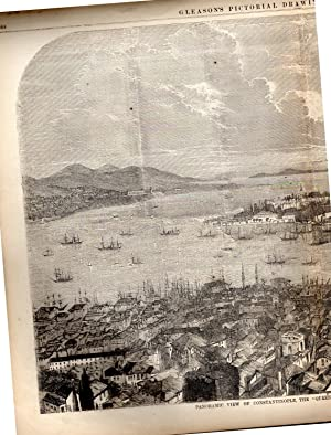 """PRINT: """"Panoramic View of Constantinople, The Queen: Gleason's Pictorial Drawing"""