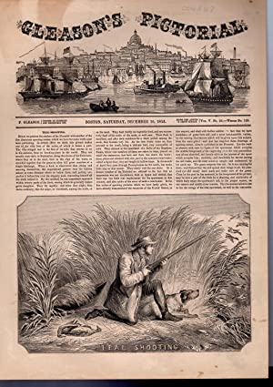 "PRINT: ""Teal Shooting"" .story & engraving from Gleason's Pictorial Drawing Room ..."