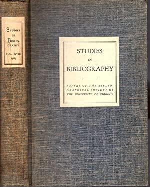Studies in Bibliography: Papers of the Bibliographial: Bowers, Fredson (editor)