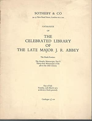 Catalogue of the Celebrated Library of the: Abbey, J.R (Major
