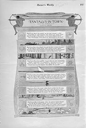 "ENGRAVING: ""Tantalus in Town: Poem and Drawings By Louis Akin"".engraving from Harper&#x27..."