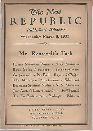 The New Republic, Volume LXXIV, No. 952: March 8, 1933: Blevin, Bruce (editor)